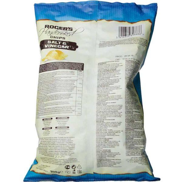 Roger's Handcooked Chips Salt & Vinegar 150g Rückseite